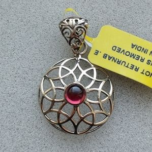Jewelry - Seed of Life Garnet Pendant - Sterling Silver